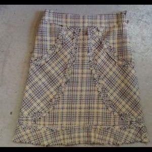 Vintage Anthro Plaid Raw-hem Skirt